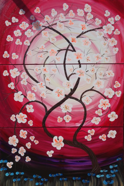 Cherry blossom 54 florals painting flowers decor original floral art 100x150x2 cm stretched canvas acrylic sakura art spring red purple pink wall art by artist Ksavera - Image 0