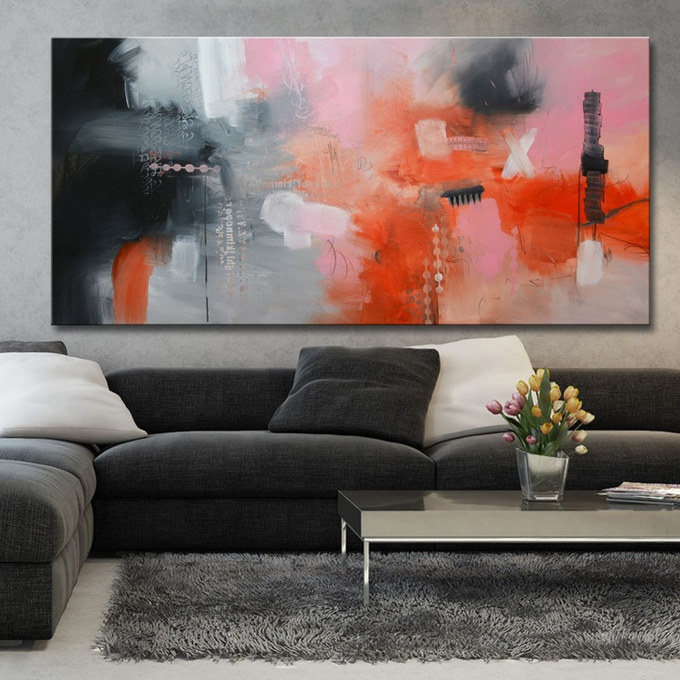 """Pink city of Heaven , 30""""x60"""",  Abstract painting with pink and grey - Image 0"""
