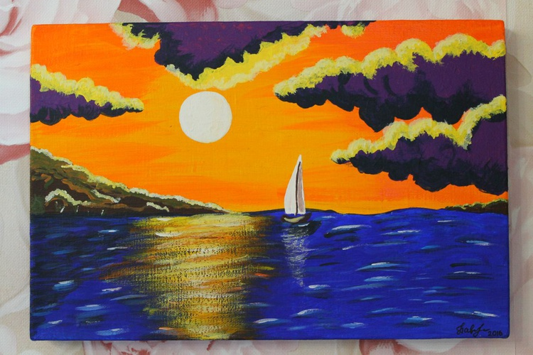 """The painting """"Sea Sunset"""". - Image 0"""