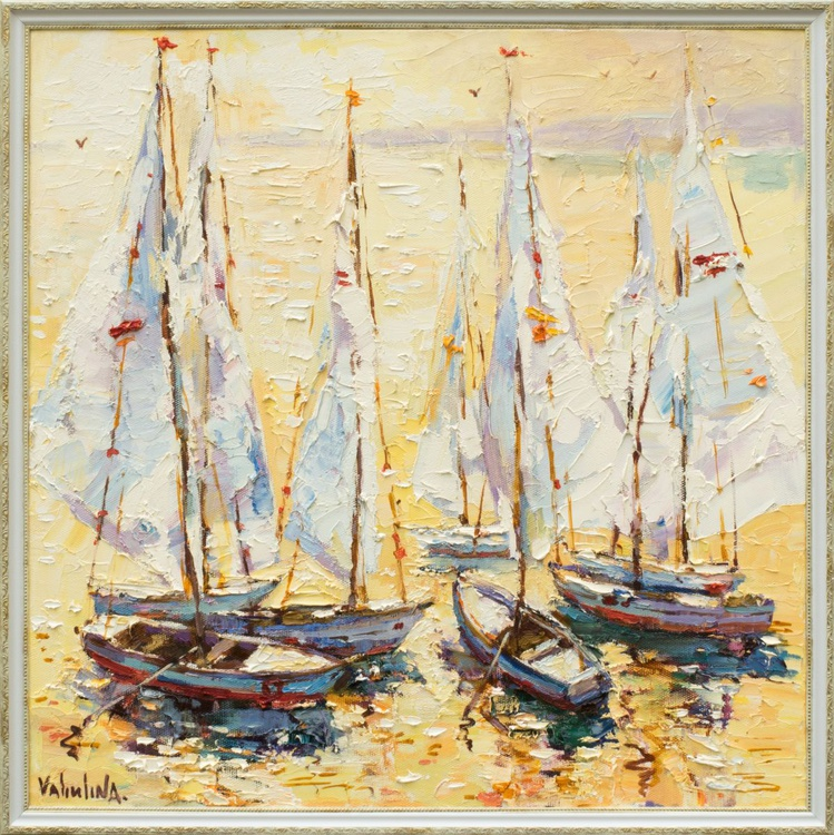 Boats at sunset painting Seascape art original oil painting - Image 0