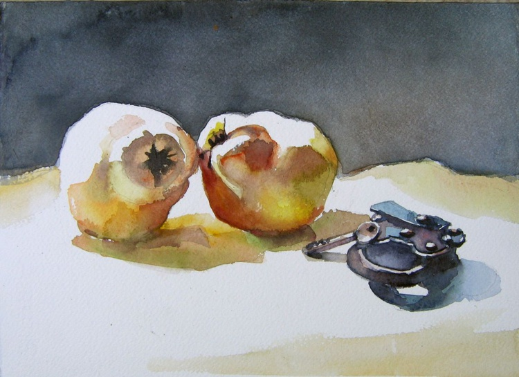 still life with quinces and old  padlock II - Image 0