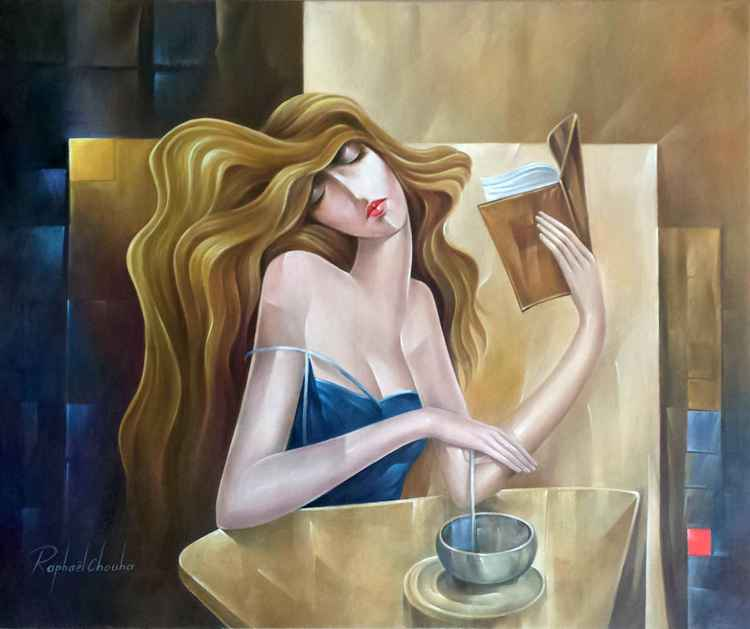 A woman in the café -