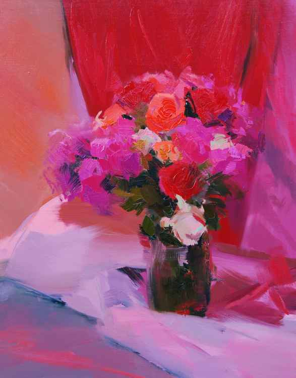 Original oil painting still life - Roses for Red -