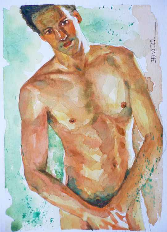 original watercolour paintingl male nude  on paper #16-5-1-06 -