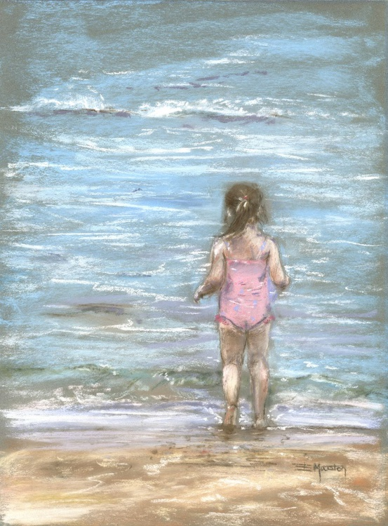 Paddling in the sea girl on beach - Image 0