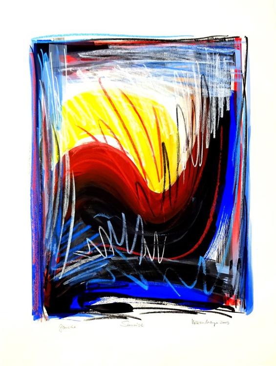 Sunrise 2 - große Gouache-Malerei und Ölkreide - Image 0