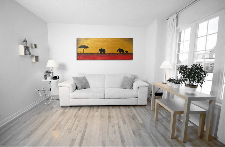 "original abstract landscape ""elephants of the sudan"" africa animal painting art canvas - 100 x 40 cm - Image 0"