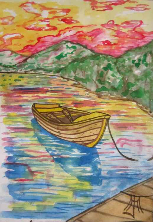 Colourful Boat Reflection Scene -