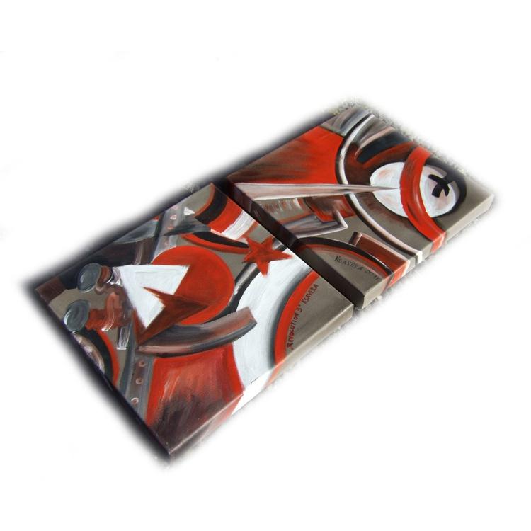 CUBISM paintings original abstract art 35x75x4 cm Revolution stretched canvas acrylic art cubist orfism constructivism wall art by artist Ksavera - Image 0