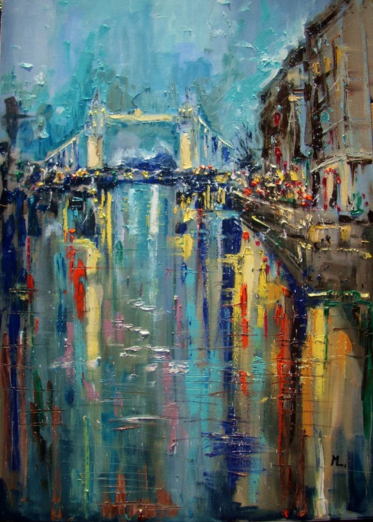 NEW PRICE ABSTRACT LONDON 100x70cm LARGE FORMAT  original painting CITY palette knife GIFT MODERN URBAN ART OFFICE ART DECOR HOME DECOR GIFT IDEA - Image 0
