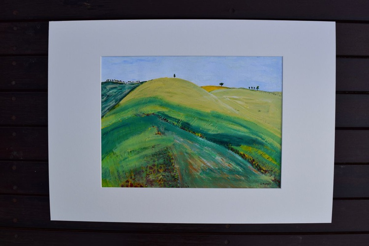 The View Abstract Landscape with hills trees flowers and sky - Image 0