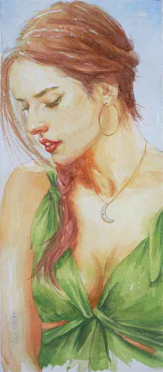 original art watercolour painting portrait of beautiful lady on paper #16-5-11-02 -