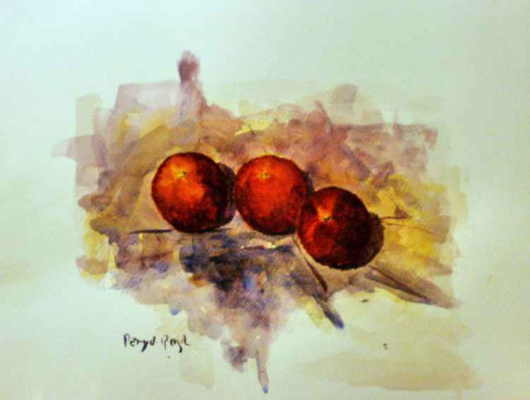Three red peaches