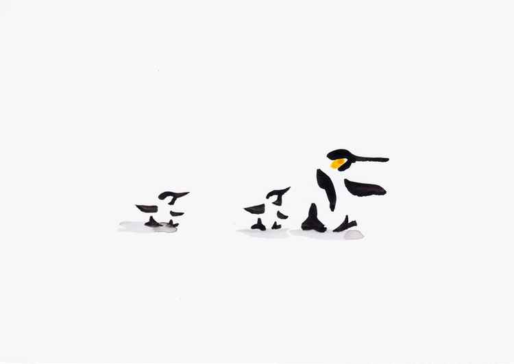 Penguin and two chicks 2115B