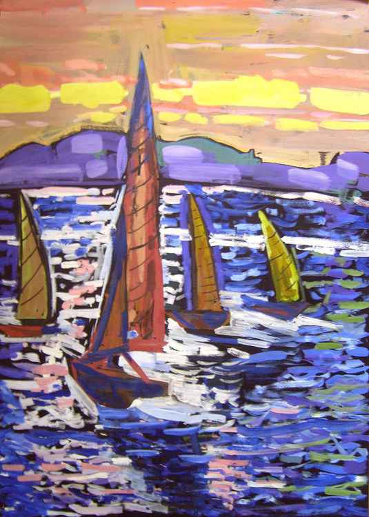 Yachts, original gouache painting 50x70 cm -
