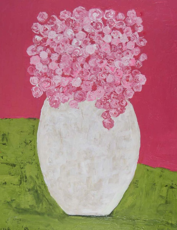 Pink & Green Floral Cottage Painting No 301 - Image 0