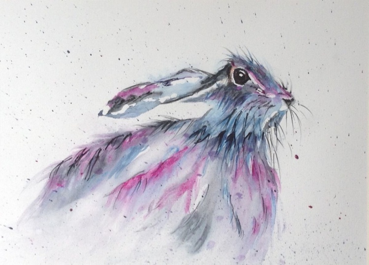 Good Hare Day, 11 X 15 inch watercolour mounted ready to frame - Image 0