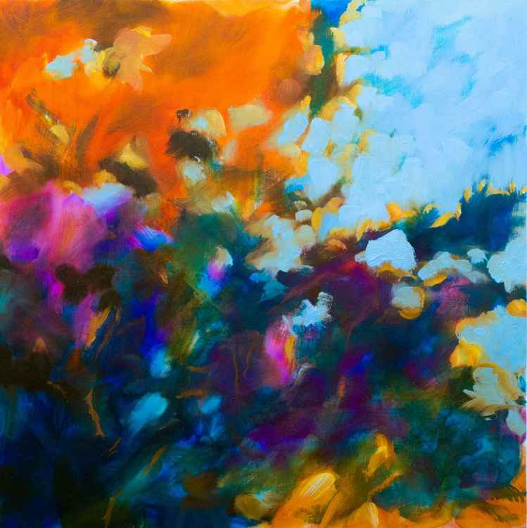 """Floral abstract - Autumn light #2"" - medium size - oil painting 60X60cm"