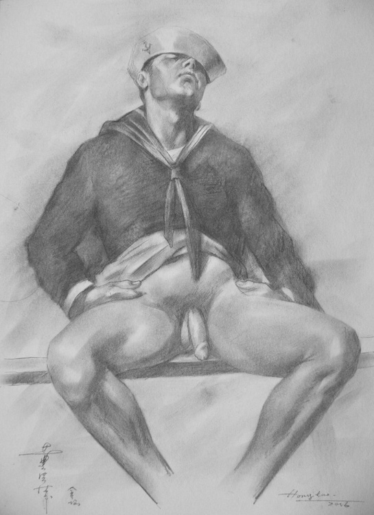 ORIGINAL DRAWING PENCIL  ART MALE NUDE OF SAILOR SLEEP ON  PAPER#16-6-8-01 - Image 0