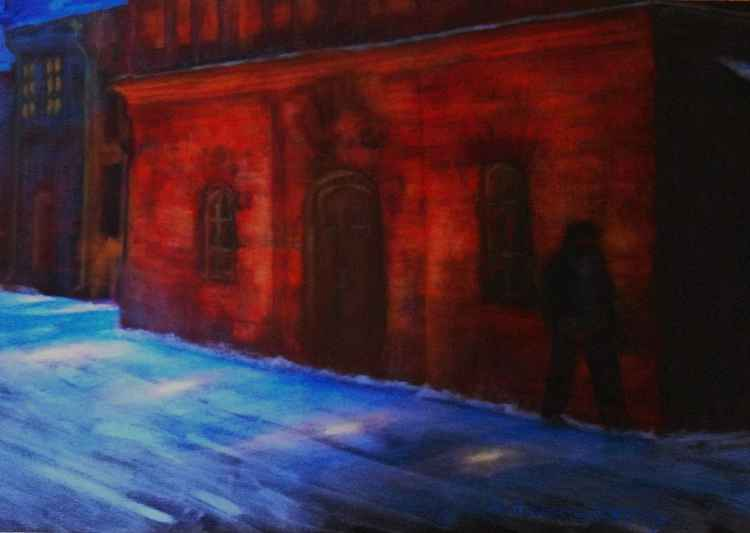 Wintry night and red house Acrylic on canvas 34x52 October 2012 -