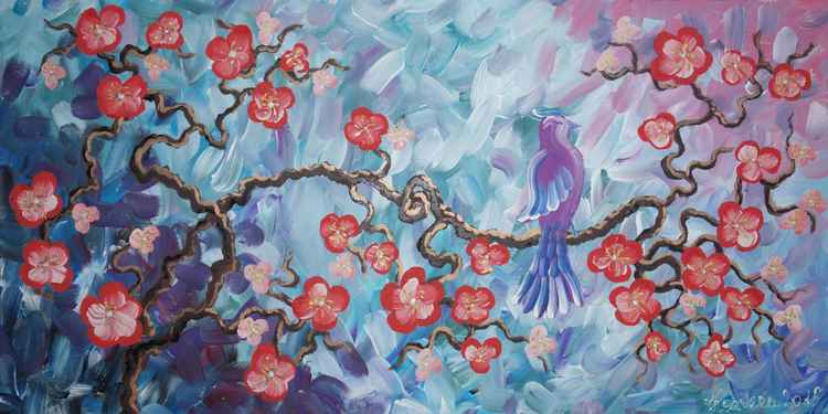 Cherry blossom and blue bird painting flowers decor original floral art 50x100x2 cm stretched canvas acrylic sakura art wall art 43 by artist Ksavera -