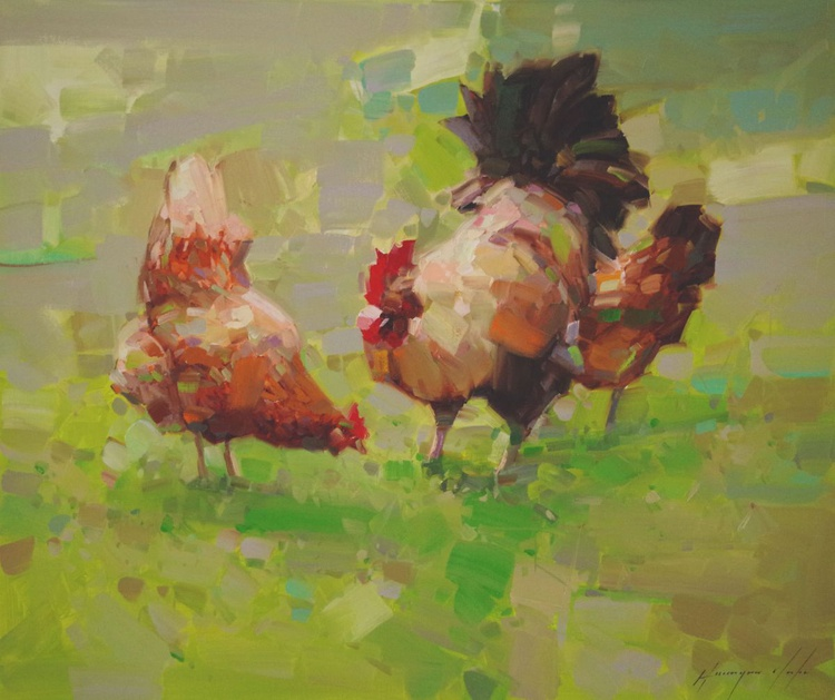 Hens Original oil Painting Handmade artwork One of a Kind Large Size - Image 0