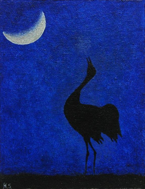 Common crane at night - Image 0