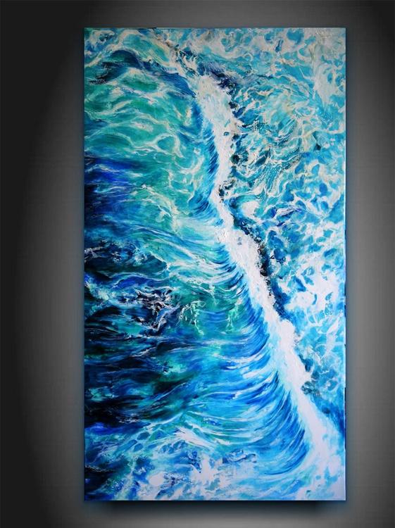 Waves / 90 cm x 50 cm Modern  Sea brush palette knife Art - Image 0