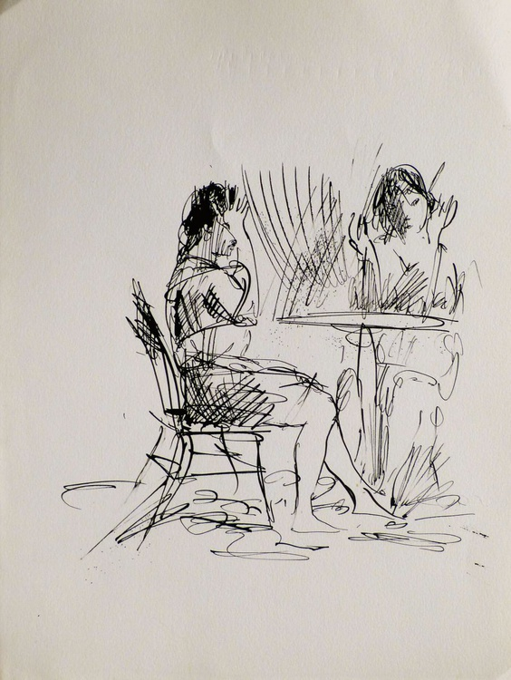 Conversation in the cafe, 25x32 cm - Image 0