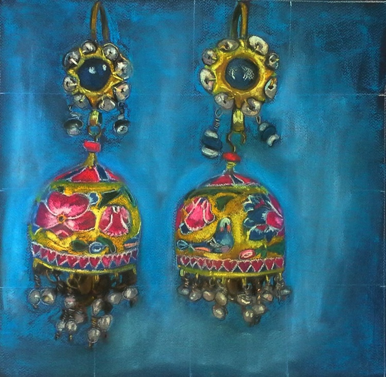 Jewish Afghanistan earrings in turquoise - Image 0