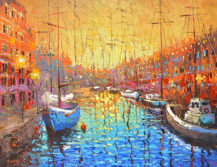 Sleepy boats. 90cm x 70cm, oil, acr, canvas, 2016 -