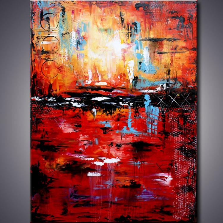 "Summer Breeze - 48"" xxl large PAINTING mixed media abstract red painting wall art, Large Abstract Painting ,Abstract Painting on Canvas - Image 0"