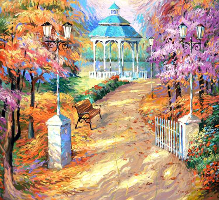 Old Park -  Oil acr. painting by Dmitry Spiros. 40 x 40 in (100 x 100 cm) -