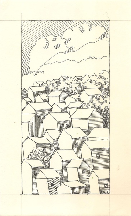 """Houses on the hills - Ink drawing-6.25""""x 10.25"""" - Image 0"""