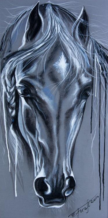 """Pretty"",Original mixed media painting on canvas 45x90 x2cm - Image 0"