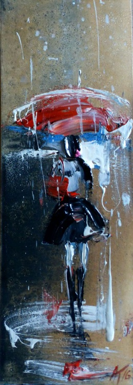 One Girl in the Autumn Rain, original oil painting 20x60 cm, Ready to hang! - Image 0
