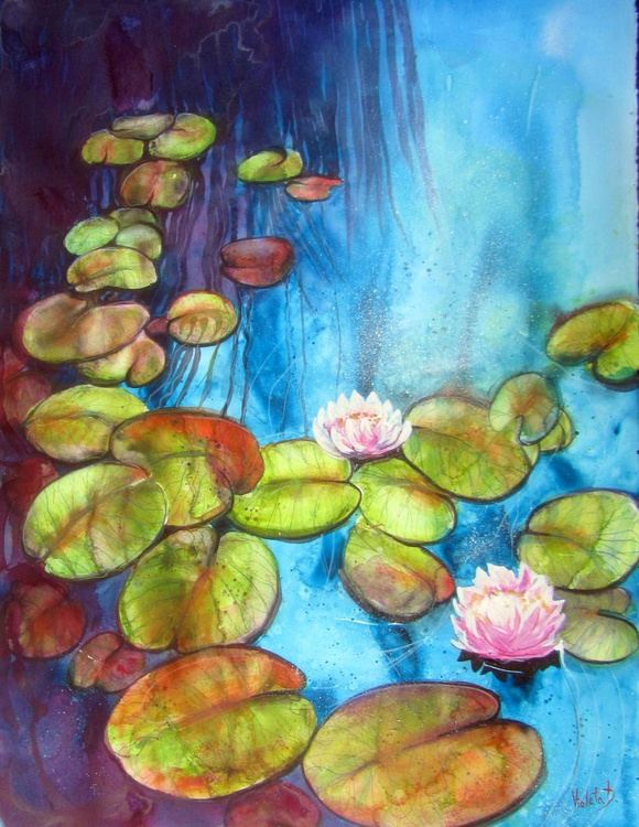 Waterlilies (large watercolour) - Image 0