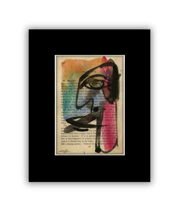 """I See 7"" on Antique Book Page - Abstract Watercolor Painting -"