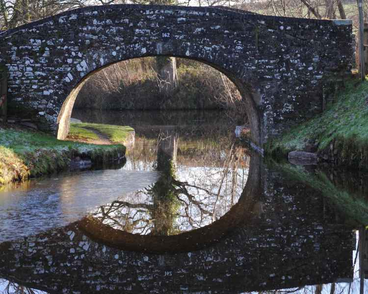 English Canal Bridge Photograph – Limited Edition Architectural Travel Photograph Reflected Canal Bridge in English Countryside