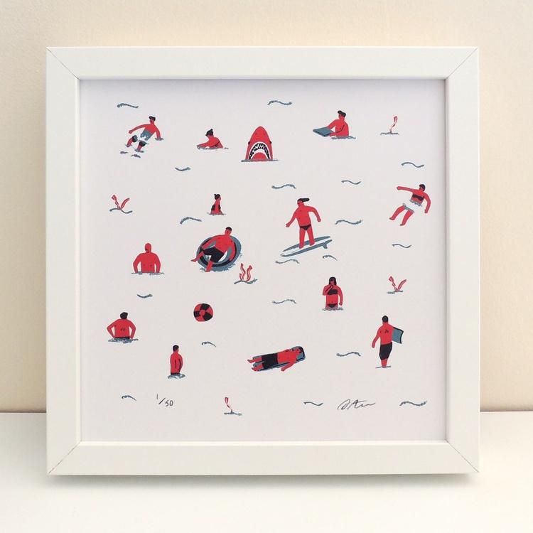 'Swimmers' Seaside Illustrated Print - Image 0