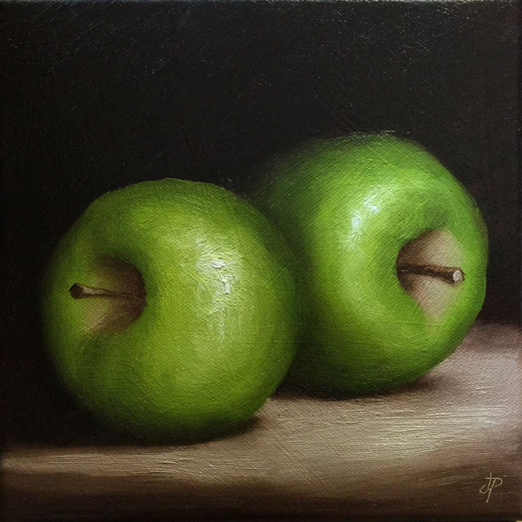 Two Green Apples, ready to hang - Image 0