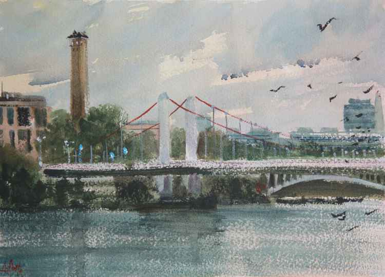 London Chelsea Bridge viewed from Battersea Park -