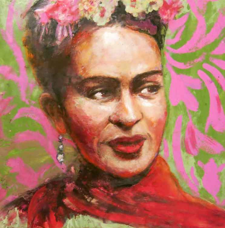 Frida , with fuschia in her hair -