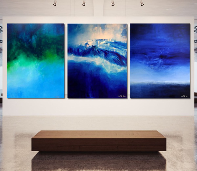 SEA AND SKY AND MELANCHOLIA AT THE END OF SUMMER (triptych) - Image 0