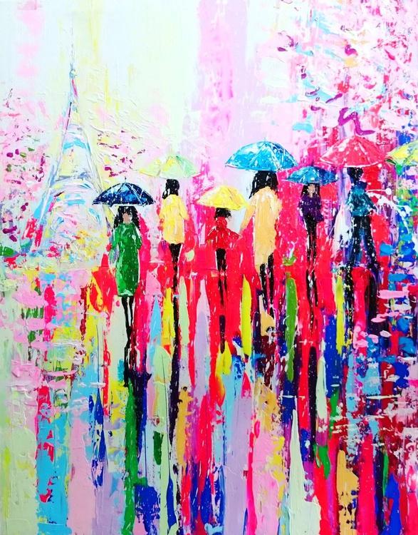 Sunny rain in Paris; BIG size 70 X 90 cm, depth - 4,5cm, READY TO HANG! - Image 0