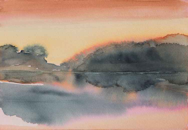 The lake - SMALL SIZE WATERCOLOR  18X26cm -