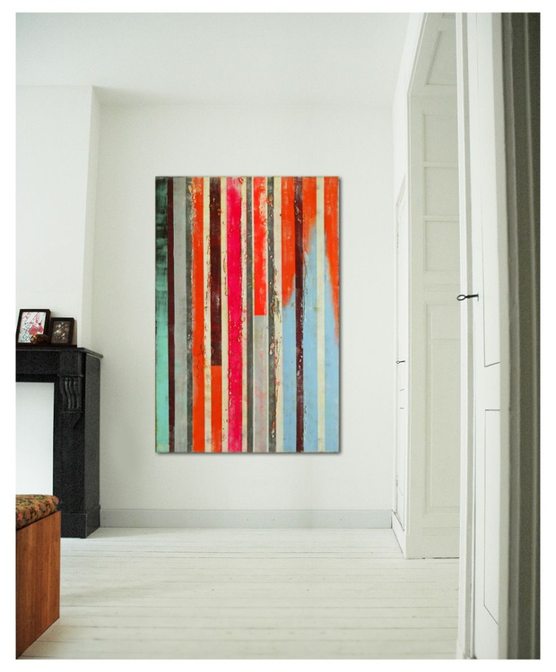 Abstract Painting - Neon Pop Striped Color - B37 - Image 0