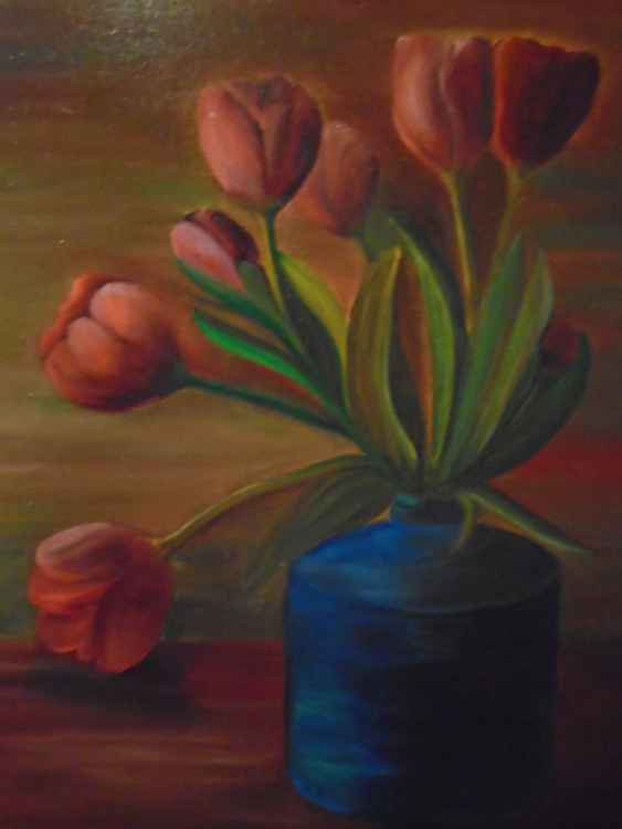 Tulips in a vase -
