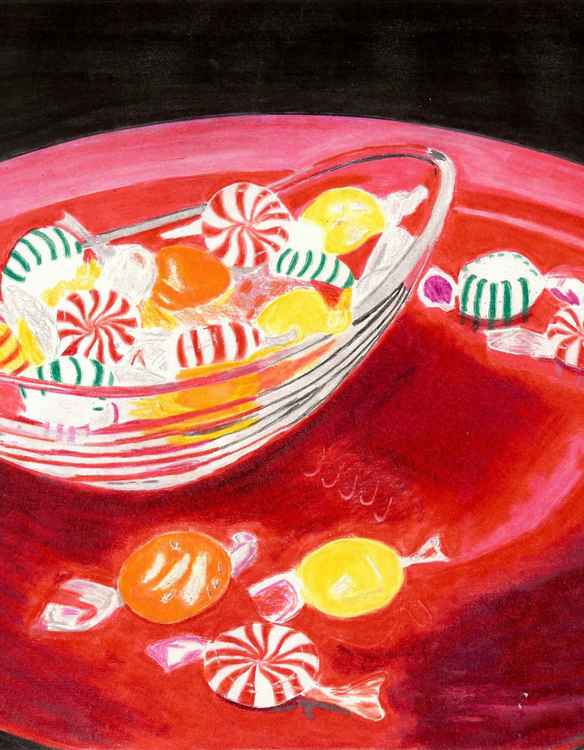 Candy Dish on a Red Plate