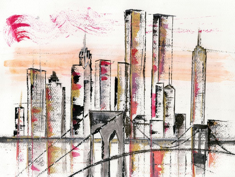 Gone but not forgotten. Twin Towers New York. cityscape.  Original water colour - Image 0